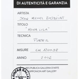 Jean Michel Basquiat Mona Lisa poster cm98x120 HR certificate of authenticity