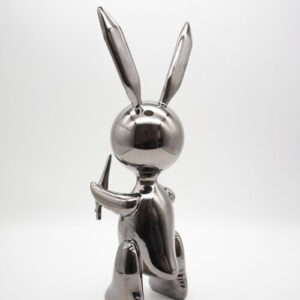 Jeff Koons Ballon Rabbit black XL Koons after Zinc alloy cm33 in13 Weight 3kg edition 54 of 500 from behind