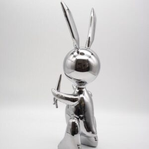 Jeff Koons Ballon Rabbit silver XL Koons after Zinc alloy cm33 in13 Weight 3kg edition 58 of 500 from behind