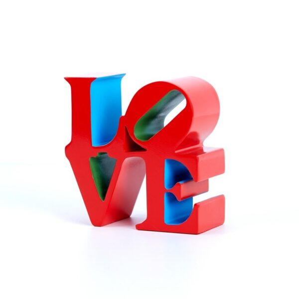 Robert Indiana Love red blue green 2018 painted polystone cm15x15x7 edition 393 of 500