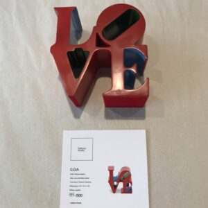 Robert Indiana Love red blue green 2018 painted polystone cm15x15x7 edition 393 of 500 with certificate of authenticity