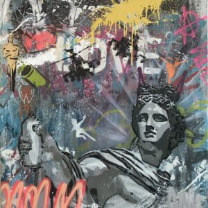 Mart Signed Apollo del belvedere 01 2020 Wall 100x90 Acrylic and mixed media on canvas