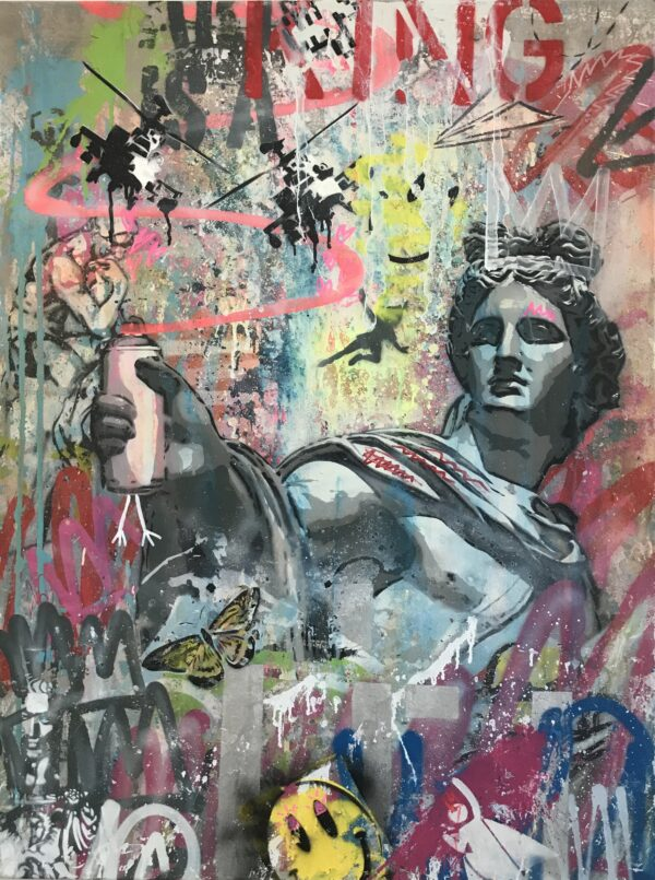 Mart Signed Apollo del belvedere 03 2020 Wall 120x90 Acrylic and mixed media on canvas