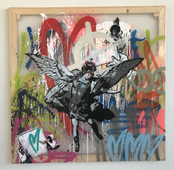 Mart Signed Arcangelo 02 2020 Wall 100x100 Acrylic and mixed media on transparent pvc panel