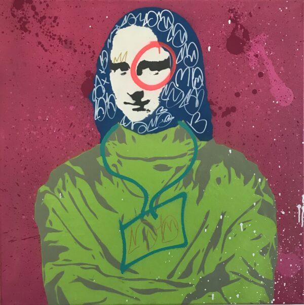 Mart Signed Gioconda disease 02 2020 Disease 80x80 Acrylic and mixed media on canvas