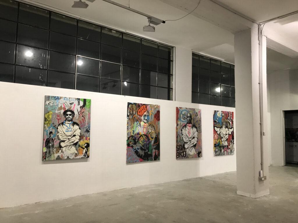 Alcuni lavori di Mart Signed serie Art Is a Disease esposti alla mostra personale presso HrDocksGallery di Torino