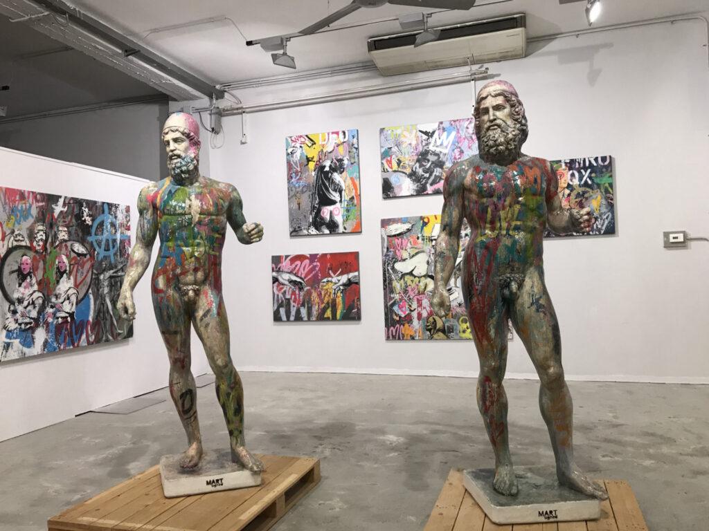 Sculture di Tideo e Anfiarao by Mart Signed esposti alla mostra personale presso Hr Docks Gallery di Torino