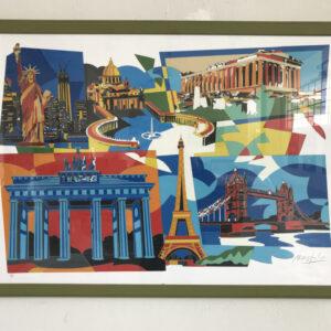 Ugo Nespolo Sorrisis cm70x100 serigrafia polimaterica su carta tiratura con lettere alfabeto TZ-18of24 artwork
