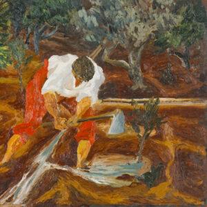 Guttuso Renato Olio su tavola Abbeverata all agrumeto 1936 60x72x2cm detail