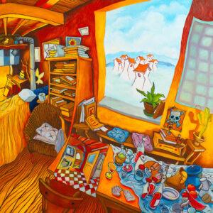 Bonaventura Casa Raul N.3 la visita Olio su tela 2021 123x140cm artwork